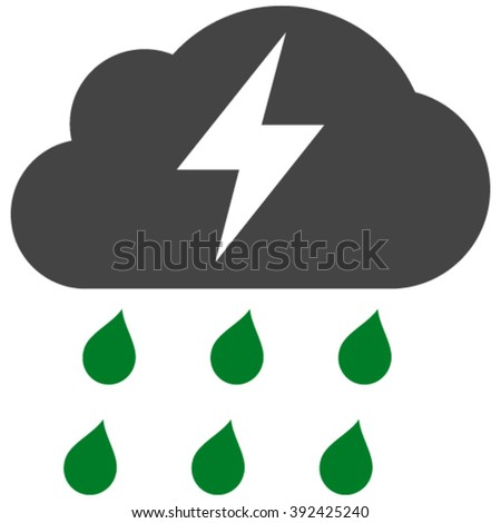 Thunderstorm vector icon. Thunderstorm icon symbol. Thunderstorm icon image. Thunderstorm icon picture. Thunderstorm pictogram. Flat green and gray thunderstorm icon. - stock vector