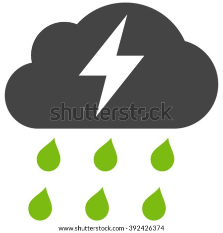 Thunderstorm vector icon. Thunderstorm icon symbol. Thunderstorm icon image. Thunderstorm icon picture. Thunderstorm pictogram. Flat eco green and gray thunderstorm icon. - stock vector