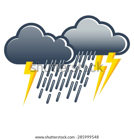 Thunderstorm with heavy rainfall; Vector illustration of weather icon - stock vector