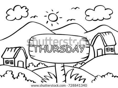 Thursday Coloring Page With Landscape