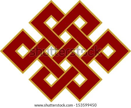 Tibetan endless knot, eternal, Buddhism, Spirituality - stock vector