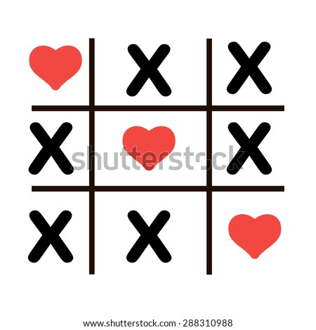 Tic Tac Toe Game Cross Red Stock Vector 409029256 - Shutterstock
