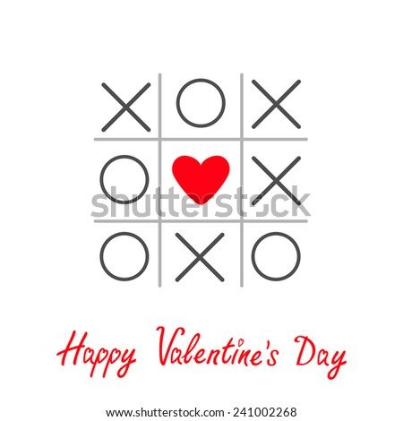 Tic tac toe game with cross and heart sign mark Happy Valentines day card Red Flat design Vector illustration - stock vector