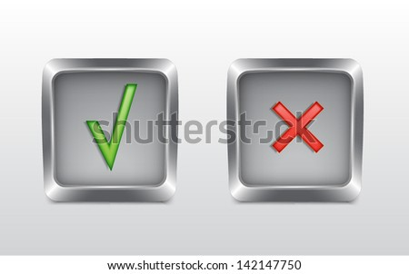 Tick and cross buttons. EPS10 vector