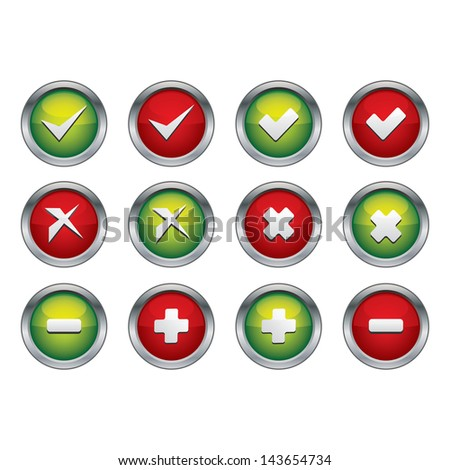 Tick and Cross Glossy Button - stock vector