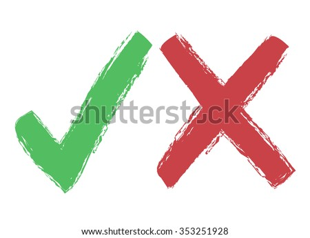 Tick and cross icons, yes no symbols green an red, vector design element - stock vector