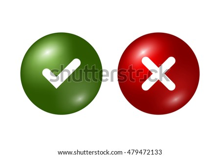 Tick and cross signs. Green checkmark OK and red X icons, isolated on white background. Marks graphic design. Circle symbols YES and NO button for vote, decision, web. Vector illustration