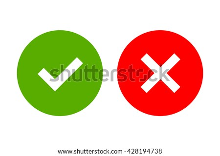 Tick and cross signs. Green checkmark OK and red X icons, isolated on white background. Simple marks graphic design. Circle shape symbols YES and NO button for vote, decision, web. Vector illustration - stock vector