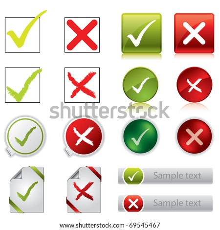 Tick and cross stickers, buttons, and symbols - stock vector