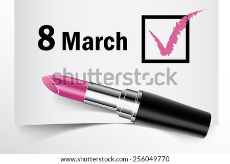 Tick box with lipstick, 8 March concept of woman choice vector