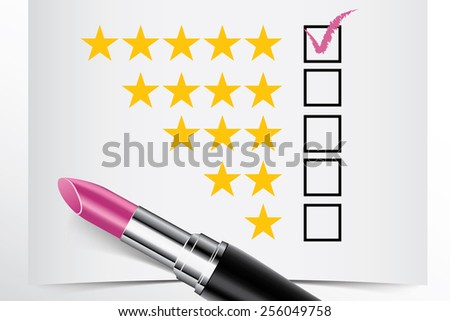 Tick box with lipstick, star ranking concept of woman choice vector - stock vector