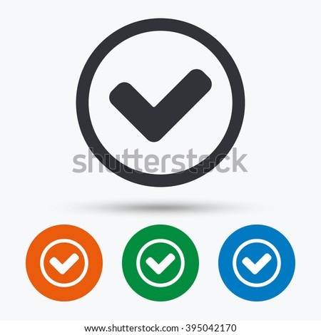 Tick icon. Tick flat symbol. Tick art illustration. Tick flat sign. Tick graphic icon. Flat icons in circles. Round buttons for web. - stock vector