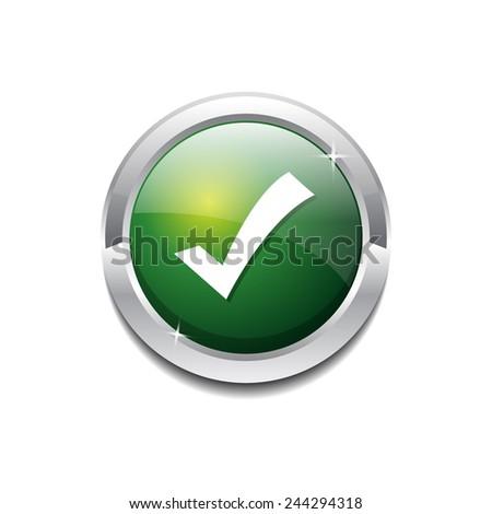 Tick Mark Circular Vector Green Web Icon Button - stock vector