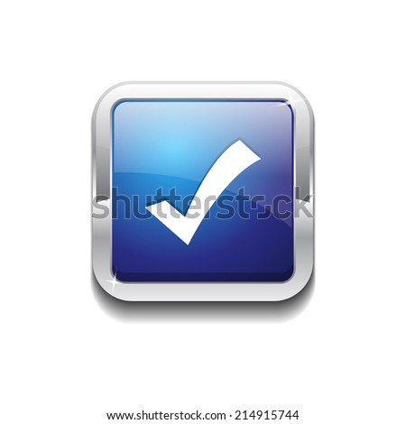 Tick Mark Rounded Corner Vector Blue Web Icon Button