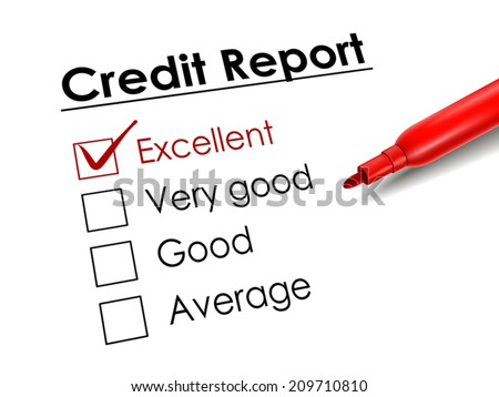 tick placed in excellent check box with red pen over credit report - stock vector