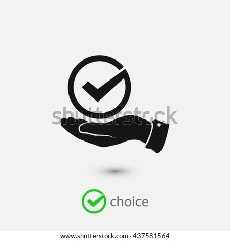 Tick with hand icon - stock vector