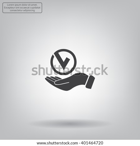 Tick with hand icon, vector illustration. Flat design style - stock vector