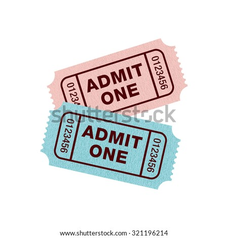 Ticket Admit One, blue and pink angled, Vector illustration