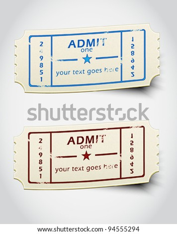 ticket admit one vector - stock vector