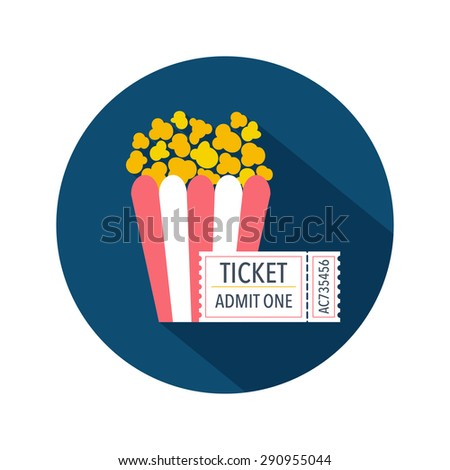 Ticket and popcorn box icon. Flat design. Vector illustration - stock vector