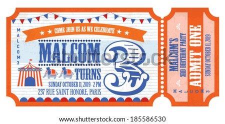 ticket birthday card invitation card template vector/illustration - stock vector