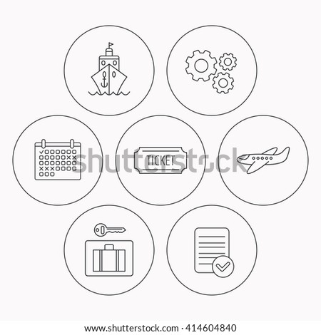 Ticket, cruise ship and airplane icons. Luggage security linear sign. Check file, calendar and cogwheel icons. Vector - stock vector