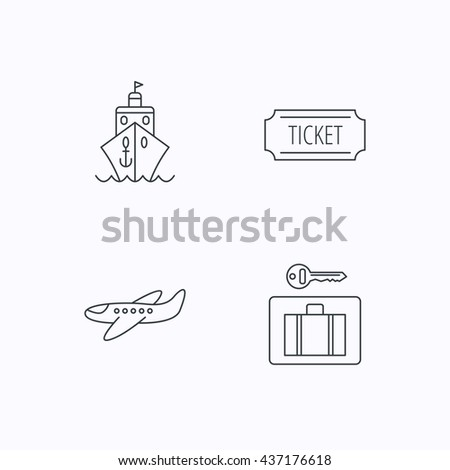 Ticket, cruise ship and airplane icons. Luggage security linear sign. Flat linear icons on white background. Vector - stock vector