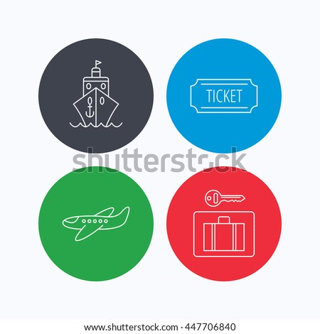 Ticket, cruise ship and airplane icons. Luggage security linear sign. Linear icons on colored buttons. Flat web symbols. Vector - stock vector