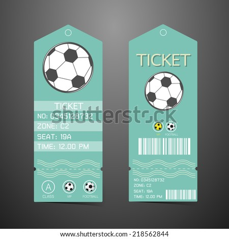 Ticket Design Template. Concept of football - stock vector