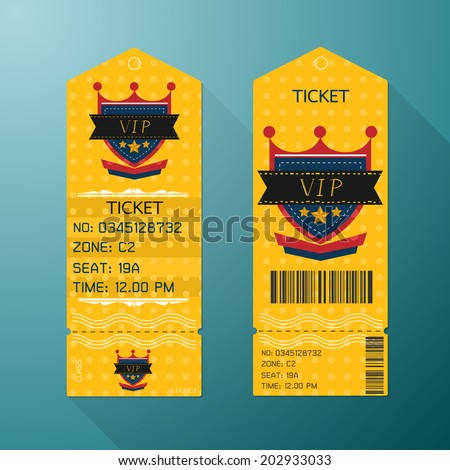Ticket Design Template Retro Style. Gold VIP Class.
