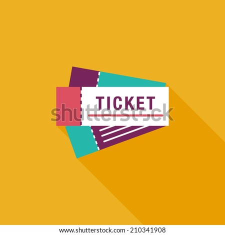 Ticket flat icon with long shadow - stock vector