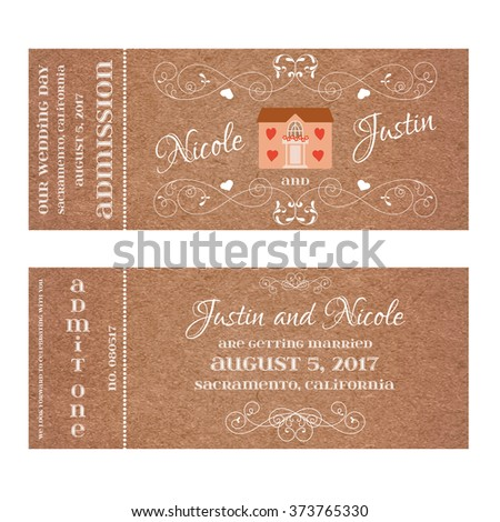 Ticket for Wedding Invitation with wedding house - stock vector