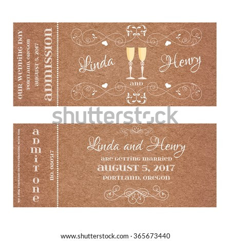 Ticket for Wedding Invitation with wine glass - stock vector
