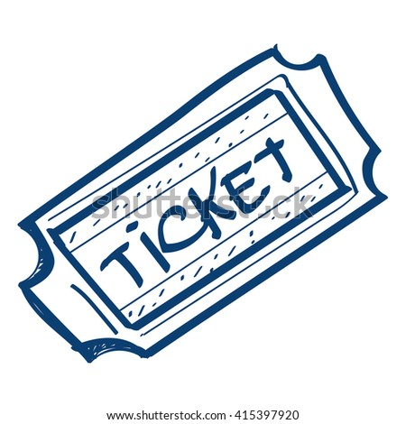 Ticket icon. Design elements in hand drawn style.
