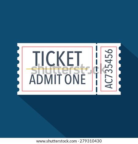 Ticket icon. Flat design. Vector illustration - stock vector