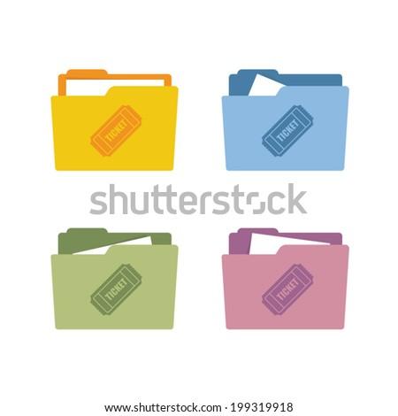 Ticket icon folder vector illustration - stock vector