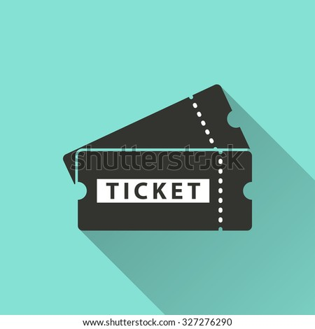 Ticket  icon  on green background. Vector illustration. - stock vector