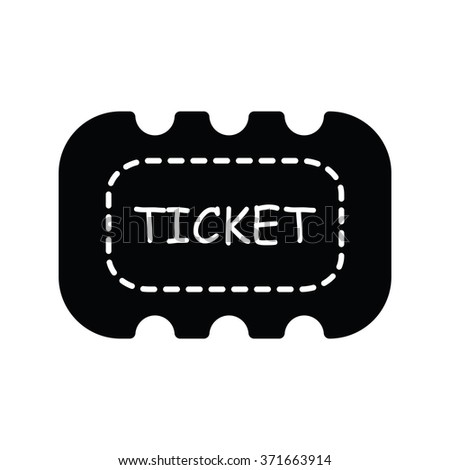 Ticket icon on white background  black color - stock vector