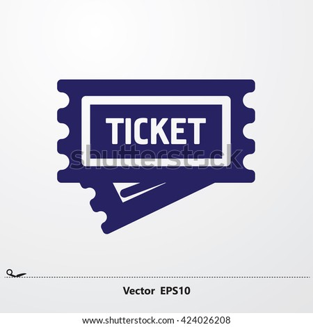 Ticket icon on white background. Vector illustration. - stock vector