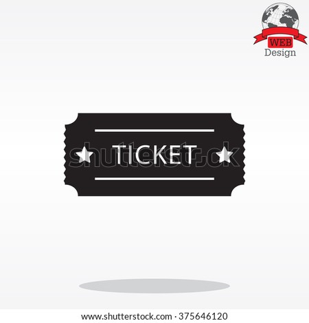 Ticket icon. Vector illustration. - stock vector