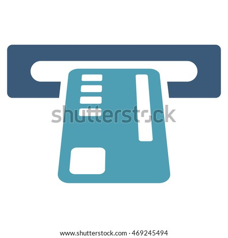 Ticket Machine icon. Vector style is bicolor flat iconic symbol with rounded angles, cyan and blue colors, white background.