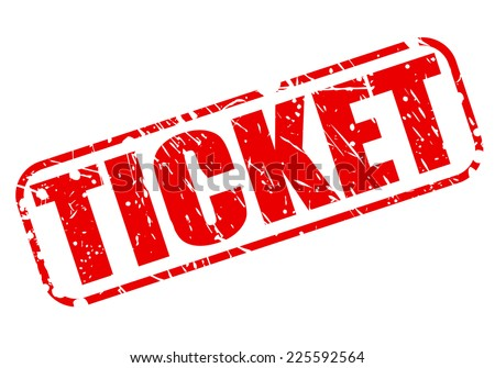 Ticket red stamp text on white - stock vector