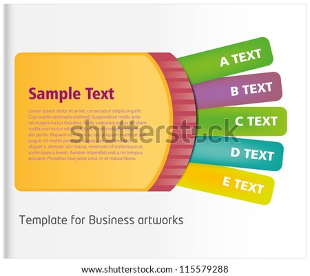 Ticket style business folder template with colorful listing - stock vector