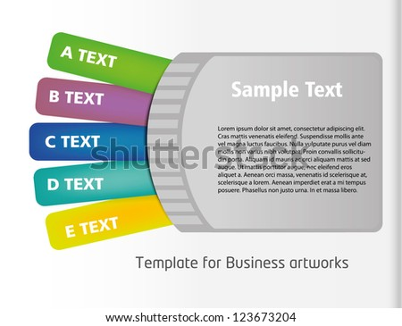 Ticket style business folder template with colorful listing