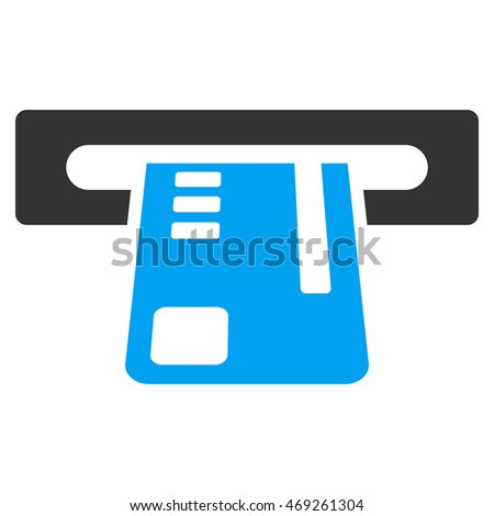 Ticket Terminal icon. Vector style is bicolor flat iconic symbol with rounded angles, blue and gray colors, white background.