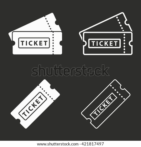 Ticket   vector icon. White illustration isolated on black background for graphic and web design.