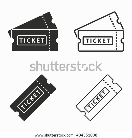 Ticket    vector icons set. Black  illustration isolated on white  background for graphic and web design. - stock vector