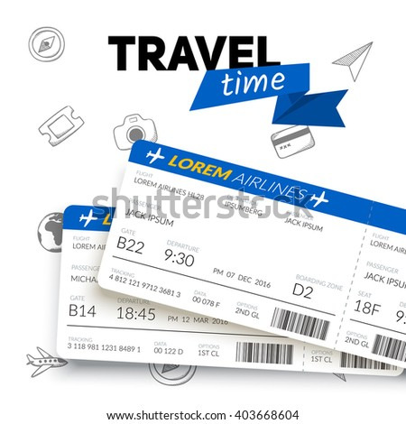 Tickets and travel badge. Vacation travel background. Easy to edit design template. - stock vector