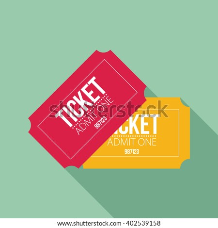 Tickets icon. Flat design. Vector illustration - stock vector