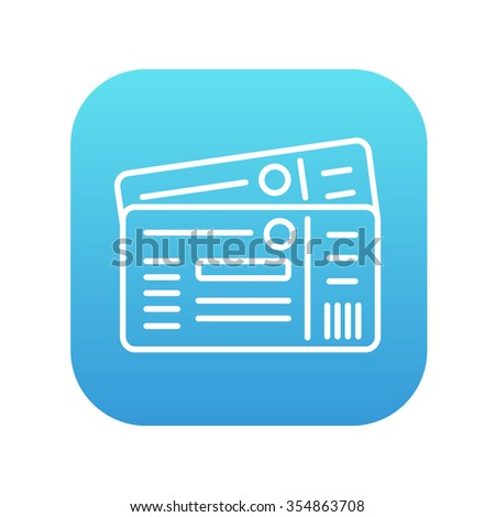 Tickets line icon for web, mobile and infographics. Vector white icon on the blue gradient square with rounded corners isolated on white background. - stock vector